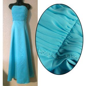 Aqua satin beaded ruched formal gown 6 LIKE NEW